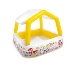Детский надувной бассейн Intex «Бассейн с козырьком» квадратный (от 3 лет)