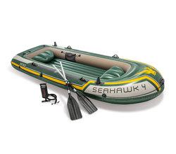 Лодка Seahawk 4, 4 местная, 351х145х48 см, вёсла, насос, до 480 кг