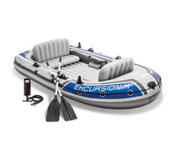 Лодка Excursion 4 местная, 315х165х43 см, вёсла, насос, до 500 кг