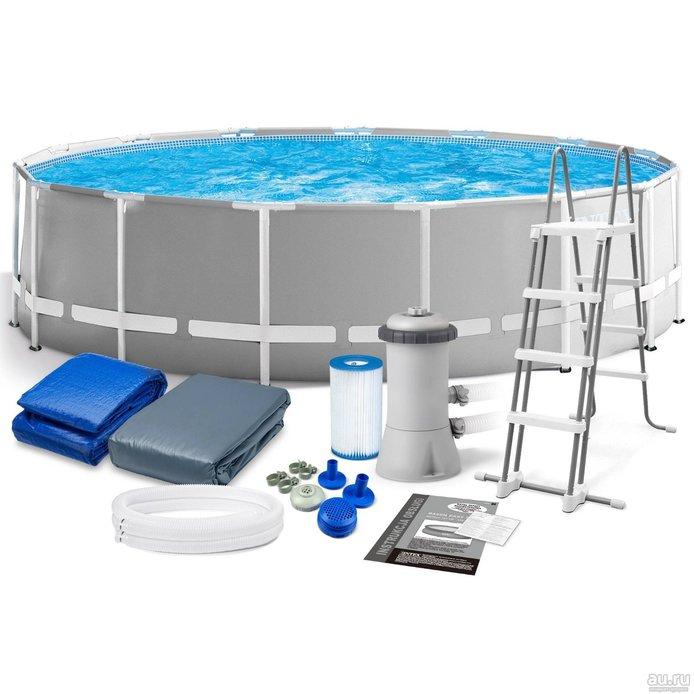 Каркасный бассейн круглый INTEX Prism Frame Pool 4,57х1,22, фильтр-насос 3785 л/ч (от 6 лет)