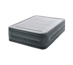 Высокая надувная кровать (двухспальная) с плюшевым покрытием (встроенный электронасос 220-240 В)